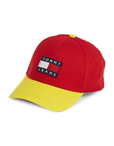 Tommy Jeans Cotton Baseball Cap-RED-One Size