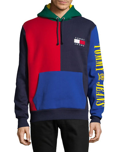 Tommy Jeans Long Sleeve Cotton Hoodie-MULTI-COLOURED-Medium