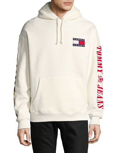 Tommy Jeans Long Sleeve Cotton Hoodie-WHITE-Large 89733673_WHITE_Large