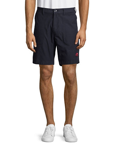 Tommy Hilfiger Buttoned Cotton Shorts-NAVY-38