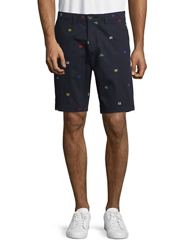 Tommy Hilfiger Wellfleet Flags Cotton Shorts-NAVY-34