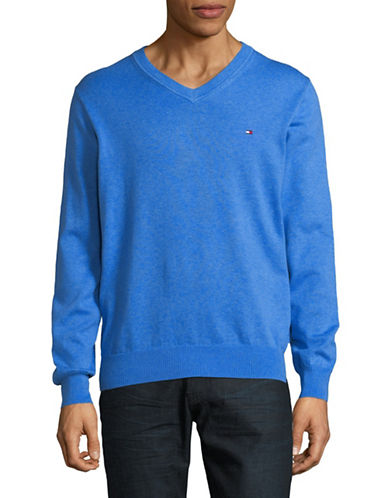 Tommy Hilfiger Signature Solid V-Neck Sweater-BLUE-Small 89896092_BLUE_Small
