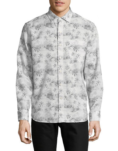 Tommy Bahama Tropical Toile Sport Shirt-GREY-Large