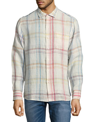 Tommy Bahama Summerland Plaid Linen Sport Shirt-WHITE/MULTI-Small