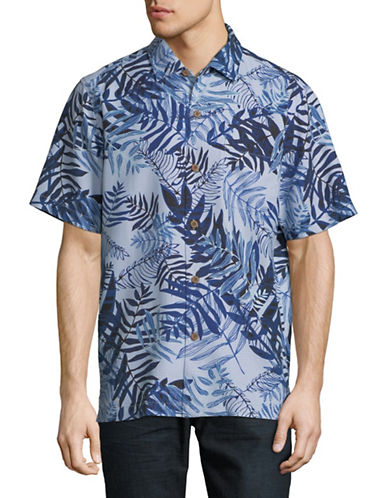 Tommy Bahama Glade Tropics Silk Sport Shirt-BLUE-Large