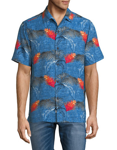 Tommy Bahama Boca Bouquet Silk Sport Shirt-BLUE-Small