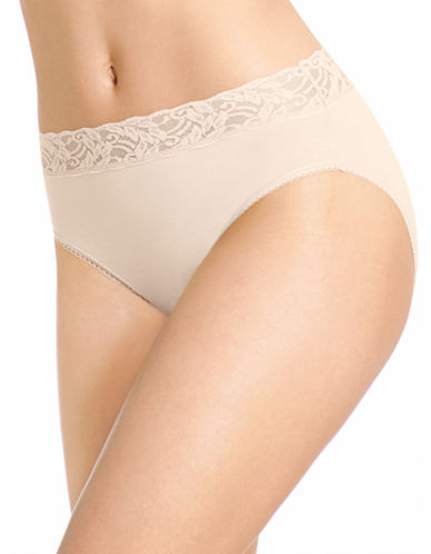 Wacoal Hi-Cut Lace Briefs-NUDE-Large