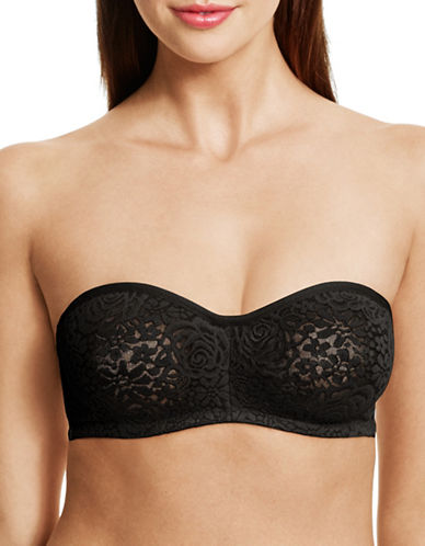 Wacoal Lace Trim Strapless Bra-BLACK-34DDD