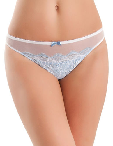 B. Tempt'D By Wacoal Sultry Thong-WHITE/BLUE-Small 88309063_WHITE/BLUE_Small