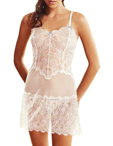 B. TemptD By Wacoal Sultry Chemise-WHITE/BLUE-X-Large
