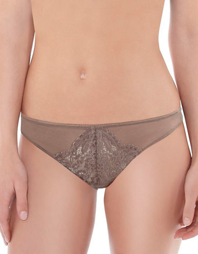 B. TemptD By Wacoal Ciao Bella Mesh Designed Thong-BROWN-Large