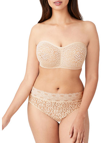 Wacoal Lace Trim Strapless Bra-NUDE-32D