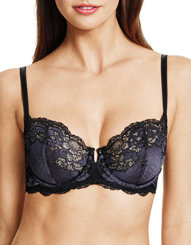 Wacoal Lace Affair Underwire Lace Bra-BLACK/GRAY-36DD