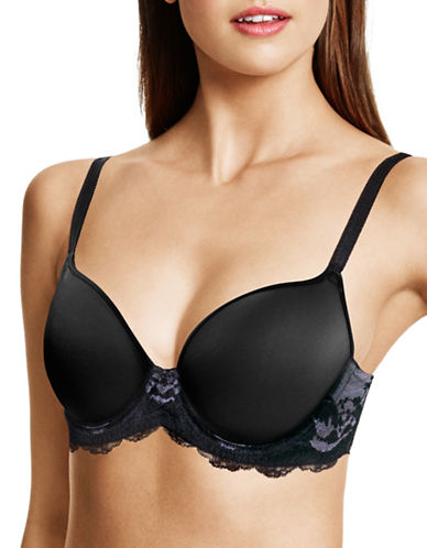 Wacoal Cross-Dye Lace Trim Contour Bra-BLACK/GRAY-38DDD