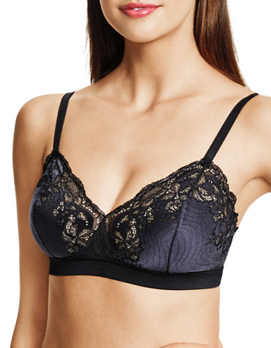 Wacoal Cross-Dye Lace Soft Cup Bra-BLACK/GRAY-36A/B
