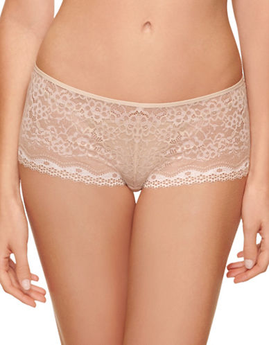 B. TemptD By Wacoal Lace-Trim Boyshorts-NUDE-Small