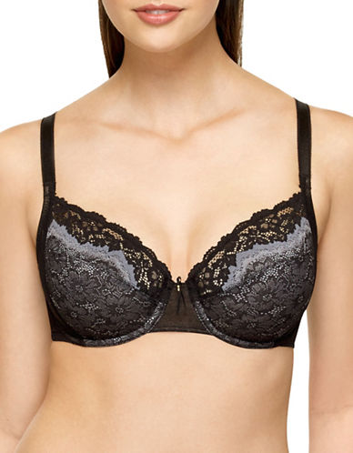 Wacoal Basic Benefits Underwire Bra-BLACK/GREY-38DD