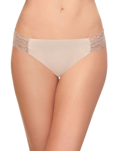 B. TemptD By Wacoal Bare Lace-Trimmed Thong-BEIGE-Medium