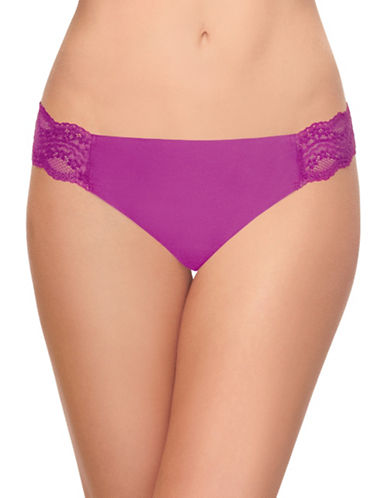 B. TemptD By Wacoal Bare Lace-Trimmed Thong-WILD ASTER-Small