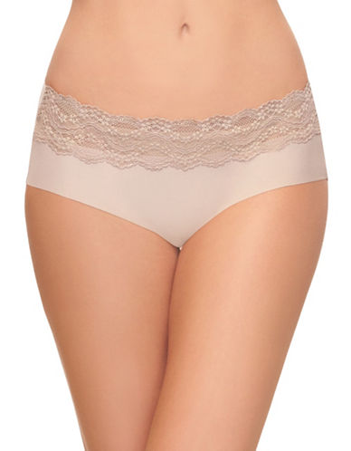 B. TemptD By Wacoal Bare Lace-Detailed Hipster Panties-BEIGE-Large