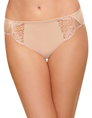 Wacoal Lace Impression High-Cut Briefs-BEIGE-X-Large