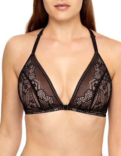 Wacoal Crochet Lace Racerback Triangle Bra-BLACK-40