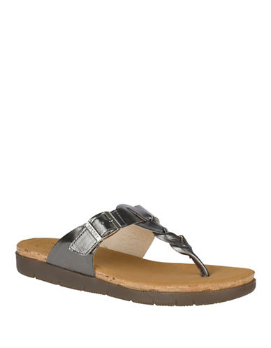 Sperry Dillon Faye Thong Sandals-PEWTER-8.5
