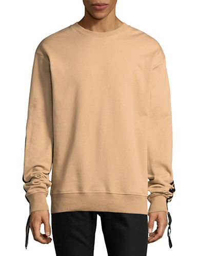 Hyden Yoo Sporty Taped Sweatshirt-BEIGE-X-Large