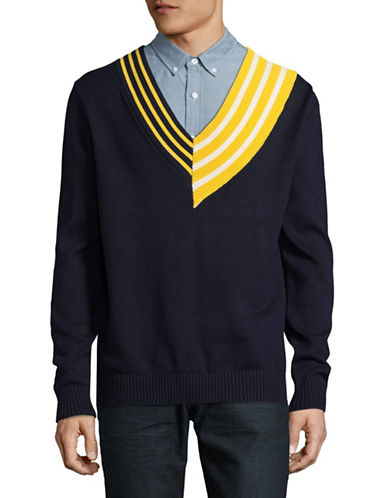 Hyden Yoo Knit Re-Worked Varsity Cricket Sweater-NAVY-Small