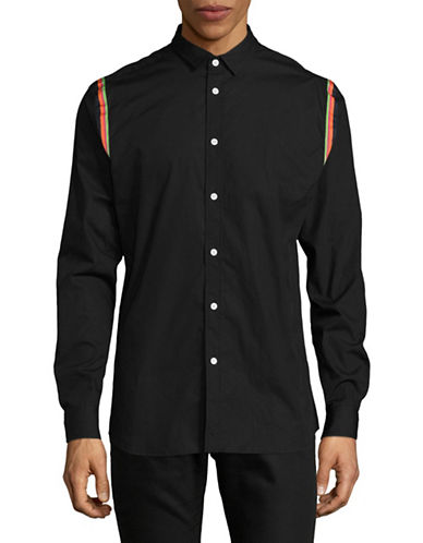 Hyden Yoo Stripe Button-Down Shirt-BLACK-XX-Large
