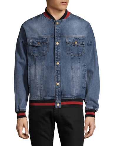 Hyden Yoo Denim Varsity Jacket-BLUE-Small