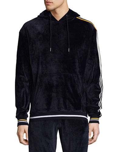 Hyden Yoo Velour Oversized Hoodie-NAVY-Medium