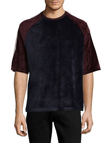 Hyden Yoo Velour Oversized T-Shirt-NAVY-Small