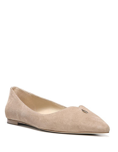 Sam Edelman Ruby Point-Toe Leather Flats-OATMEAL-9.5