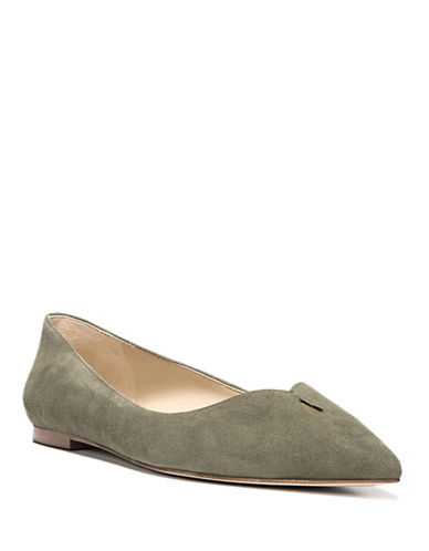 Sam Edelman Ruby Point-Toe Leather Flats-GREEN-8