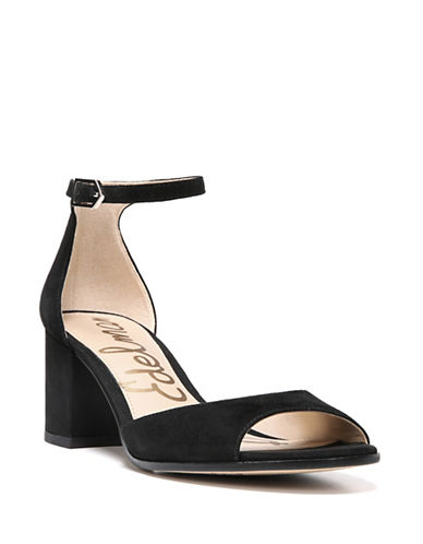 Sam Edelman Susie Suede Ankle Strap Sandals-BLACK SUEDE-7