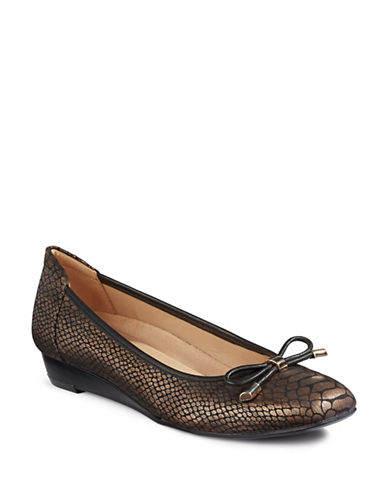 Naturalizer Dove Snake Print Wedges-BRONZE-7.5