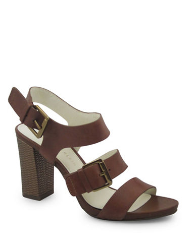 Anne Klein Onmymind Leather Buckled Sandals-COGNAC-10