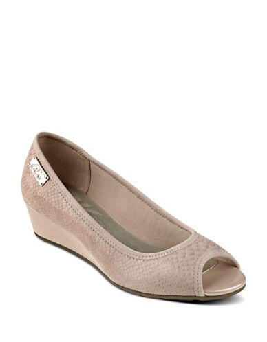 Anne Klein Camrynne Peep Toe Wedge Heels-PINK-7.5
