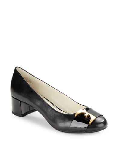 Anne Klein Hastobe Leather Buckle Kitten Pumps-BLACK-10