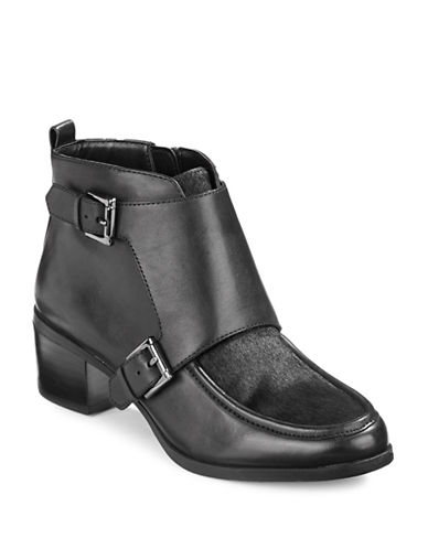 Anne Klein Jeffery Calf Hair Toe Booties-BLACK-10