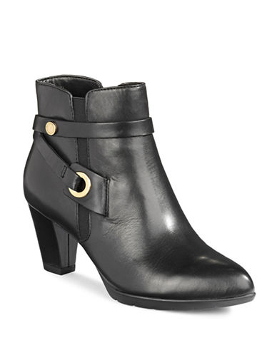 Anne Klein Chelsey Leather Ankle Boots-BLACK-10