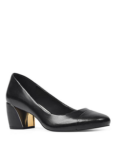 Nine West Jineya Cap-Toe Leather Pumps-BLACK-10