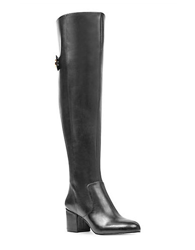 Nine West Leather Knee-High Boots-BLACK-5.5