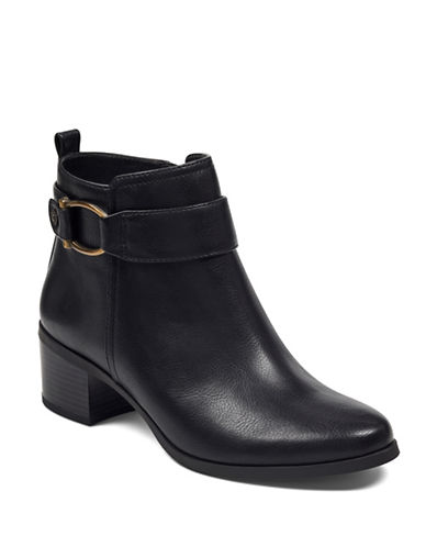Anne Klein Jeannie Leather Booties-BLACK-5.5