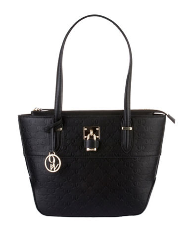 Nine West Classic Logo Embossed Tote-BLACK-One Size