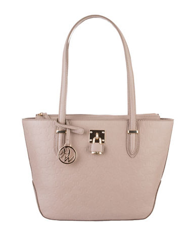 Nine West Classic Logo Embossed Tote-GREY-One Size
