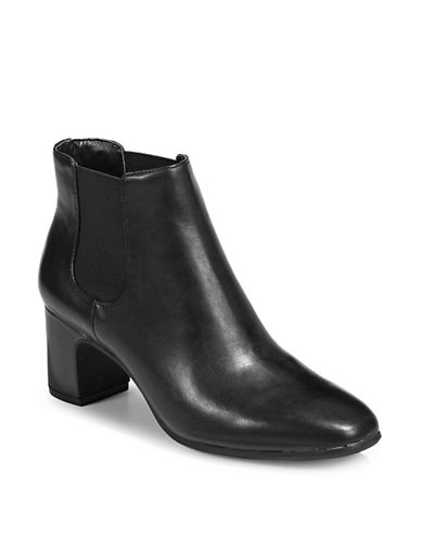 Anne Klein Gorgia Ankle Booties-BLACK/BLACK-10.5
