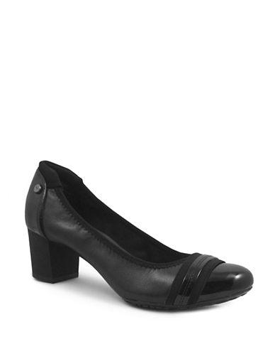 Anne Klein Guardian2 Leather Block Pumps-BLACK-8.5