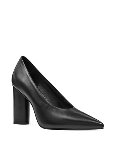 Nine West Yemetra Round Leather Pumps-BLACK-10